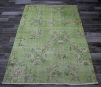 Green Area Rug Turkish Vintage Hand Knotted Bohemian Wool Ethic Carpet 4x6 ft.