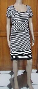 Max Edition Black & White Striped Short Sleeve Dress Sz Large  NEW