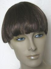 chestnut brown clip in on fake fringe bangs hair extension hairpiece