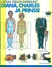 Princess Diana X RARE FINLAND PAPER DOLLS WEDDING 1981