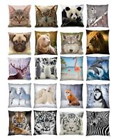 "Luxury Digital Printed 3D Animal Themed Square Cushion Covers (18"" x 18"") Cute"