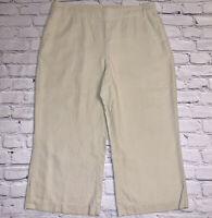 Coldwater Creek Women's Size Large L 14 LINEN Blend Crop Capri Pants Pockets Tan