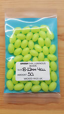 50 X 12 Mm-8mm Extra Large Yellow Oval Lumi Fishing Beads.biggest Listed on EBAY