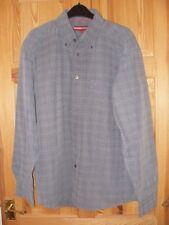 Mens Pierre Cardin grey check soft feel long sleeve shirt size XL