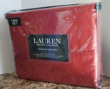 Ralph Lauren 3 PC TWIN SHEET SET Red Slate 100% Cotton Dunham Sateen 300tc