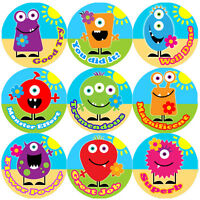 144 Monster Flowers Praise Words 30mm Kid's Reward Stickers for Teacher, Parent