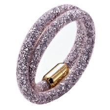 Stardust Slake 3D Bracelet Swarovski Elements Gold Plated Closure Sand Pink