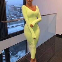 Women's Long Sleeves Deep V-neck Bodycon Slim Fit Casual Club Party Midi Dress