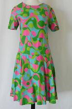 Vtg Dress Shot Sleeve Linen Multi-Color Drop Waist Size M