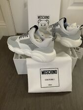 MOSCHINO White WOMEN'S SHOES LEATHER TRAINERS TEDDY SNEAKERS RUN NIB 39 9.5-10