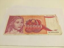 Joegoslavie 100.000 Dinar 1989 Bankbiljet