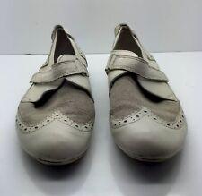 PATAUGAS Cream Ivory Leather Tan Linen Comfort Walking Sport Comfort Shoes 36 6M