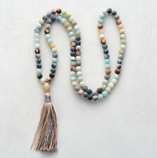 Natural Beaded long Tassel Necklace Onyx Turquoise Gold Boho Beads blue white
