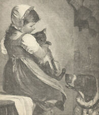 German Shorthaired Pointer Dog Cat Girl Antique Print 1889