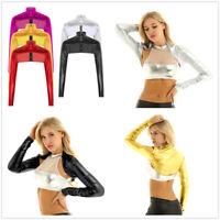 Women Metallic Cardigan Bolero Shrug Long Sleeve Shiny Open Crop Top Dance Party