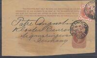 GB QV 1896 Uprated Newspaper Wrapper To Germany Postal History J7726