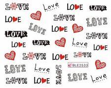 Accessoire ongles nail art , Stickers décalcomanie, Motifs Saint Valentin Love