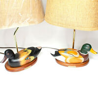 Vtg Mid Century Wood Carved Mallards Table Lamp Pair (2 Lamps) Duck Drake Hen