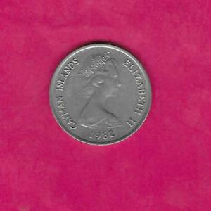 CAYMAN ISLANDS KM4 1982 25 CENTS VF VERY FINE NICE OLD CARIBBEAN COIN
