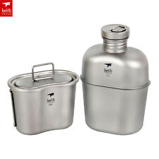 Keith Ti3060 Titanium Canteen Water Bottle Cup Camping Tool Army Box&Bag Jug