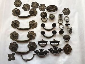 Vintage Brass Antique Draw Pulls For Repurpose Large Lot
