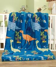 Soft Flannel Touch BABY Comforter/Blanket With Borrego/Sherpa Backing-DINOSAURS