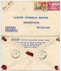 GOLD COAST NKONYA WURUPONG VILLAGE POSTMARKS AIRMAIL to SCOTLAND 1955