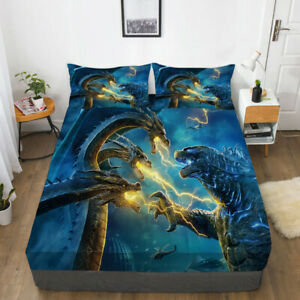 Godzilla: King of the Monsters Fitted Sheet 3PC Bed Sheet&Pillowcase Bedding set