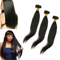 8A Brazilian Straight Hair Weaves 12inch Virgin Human Hair 3 Bundles Black