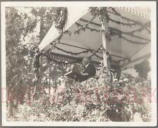 Vintage 1920s Snapshot Photo Man Public Speaking Into Giant Microphones 694945