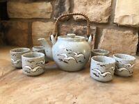 Vintage Otagiri Tea Set Teapot 6 Cups Speckled Stoneware Seagull Ceramic Gray