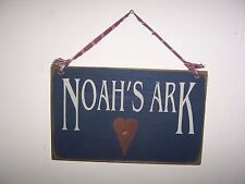 Noah's Ark Sign Hanging Wooden Rustic Primitive Country Wall Decor w/Rusty Star