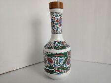 Metaxa Porcelain Floral Bottle Decanter with Wood Stopper Floral Design NICE
