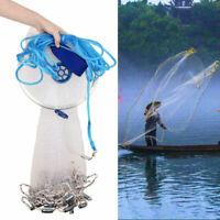 Hand Cast Fishing Landing Net Spin Network Easy Throw Bait Mesh Dia 8/10/12/14ft