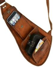 Men's Vintage Genuine Leather Shoulder Sling Bag Satchel Chest Brown Backpacks