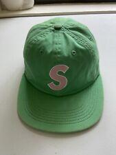 Supreme Strapback Hat S Logo 6 Panel Green Pink Leather Felt 100% Authentic
