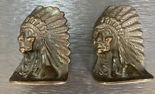 PAIR ANTIQUE NATIVE INDIAN BRONZE BOOKENDS INDIAN CHIEF END OF THE TRAIL