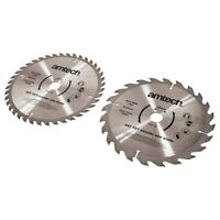 AMTECH 2pc 185mm CIRCULAR SAW BLADE SET 24 & 40 Teeth TCT 20mm Bore Heavy Duty