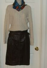 Vintage Emanuel Ungaro (Paris) Size Small Made In Italy Brown Leather Skirt