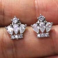 Sparkling Pear Cubic Zirconia Earring Stud Women Jewelry 14K White Gold Plated