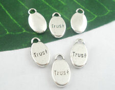 10 x TRUST WORD CHARMS, 15 x 9mm,  - SILVER TONE  - SAME DAY **FREE*  POSTAGE