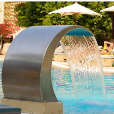 Stainless Steel Waterfall Fountain Cascade Swimming Pool Decor Pond Garden 60*30