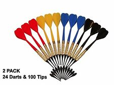 24 Plastic Soft Tip Brass Dart Set, Lot of 24 Assorted Colors Plus 100 Extra Tip