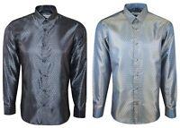 Mens Satin Two Tone Shiny Silk Feel Smart Dress Formal Wedding Casual Shirt 410