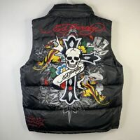 Ed Hardy by Christian Audigier Puffer Down Jacket Vest Sleeveless Hoodie Mens L