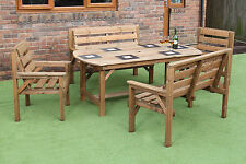 6FT WOODEN GARDEN FURNITURE PATIO SET TABLE 2 BENCHES AND 2 CHAIRS