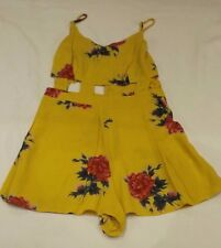 LADIES TOPSHOP UK 8 EUR 34  YELLOW SUMMER BEACH FLORAL WITH CUT OUTS PLAYSUIT