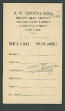 1926 Ny A W Leman Y& Sons Selling Ribbons Silks Velvets Salemans Callling Cards