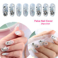 24Pcs French Nails False Nail Cover Crystal Diamond Silver glitter Nail Tool Hot