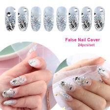 24Pcs French Nails False Nail Cover Crystal Diamond Silver glitter Nail Tool Hot